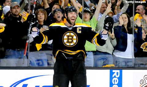 Chara esulta i suio Bruins vincono gara 5