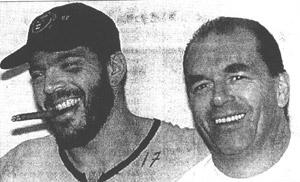 Orlando in compagnia dell'inseparabile Brian Lefley festeggiano lo scudetto a Berna del 1997