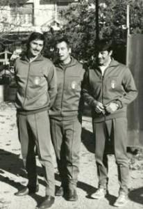 Renato Brivio, Pelacchi (massaggiatore e Franco Viale in Nazionale