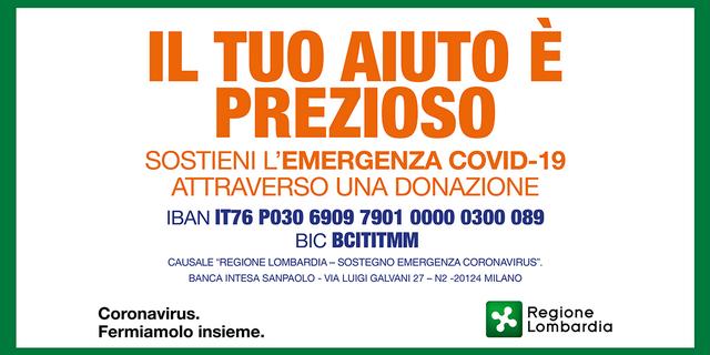 È attivo da lunedì 9 marzo il conto corrente'Regione Lombardia-Sostegno emergenza Coronavirus'(numero IBAN IT76P0306909790100000300089 – BIC BCITITMM) per raccogliere fondi persostenere le strutture sanitarie, i medici, gli infermieri e tutto […]